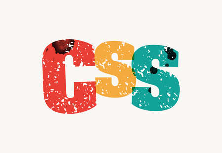The word CSS concept printed in letterpress hand stamped colorful grunge paint and ink. Vector EPS 10 available.