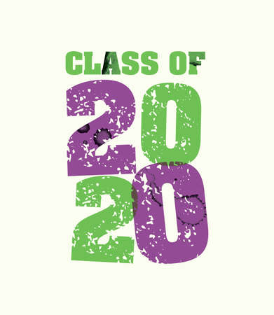 The words Class of 2020 concept printed in letterpress hand stamped colorful grunge paint and ink. Vector EPS 10 available.
