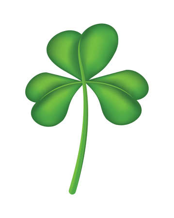 An isolated green shamrock clover on a white background illustration. Vector EPS 10 available. Çizim