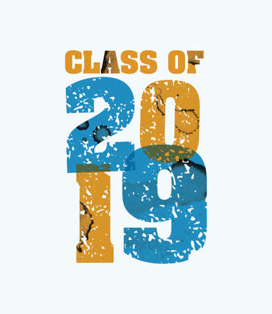 The words Class of 2019 concept printed in letterpress hand stamped colorful grunge paint and ink. Vector EPS 10 available. Ilustracja