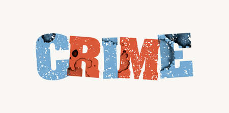 The word CRIME concept printed in letterpress hand stamped colorful grunge paint and ink. Vector EPS 10 available.