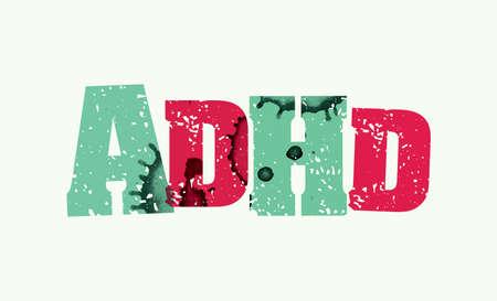 Het woord ADHD concept gedrukt in boekdruk hand gestempeld kleurrijke grunge verf en inkt. Vector EPS 10 beschikbaar. Stock Illustratie