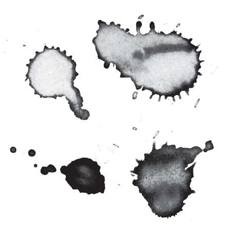 검정 잉크 및 페인트 drips 및 splatters 그림의 집합입니다. 벡터 EPS 10 사용할 수 있습니다.