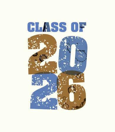 文字プレスハンドで印刷された2026年の概念の言葉クラスは、カラフルなグランジ塗料とインクを刻印しました。ベクトル EPS 10 が利用可能です。