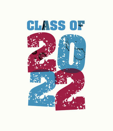 The word Class of 2022 concept printed in letterpress hand stamped colorful grunge paint and ink. Vector EPS 10 available. Illusztráció