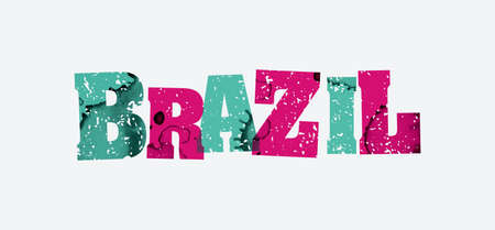 The word BRAZIL concept printed in letterpress hand stamped colorful grunge paint and ink. Vector EPS 10 available.