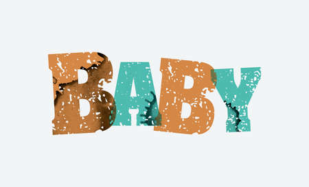 The word BABY concept printed in letterpress hand stamped colorful grunge paint and ink. Vector EPS 10 available.