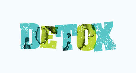 The word DETOX concept printed in letterpress hand stamped colorful grunge paint and ink. Vector EPS 10 available.
