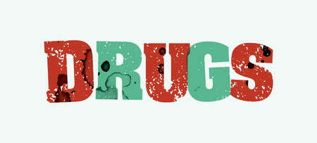The word DRUGS concept printed in letterpress hand stamped colorful grunge paint and ink. Vector EPS 10 available. 일러스트