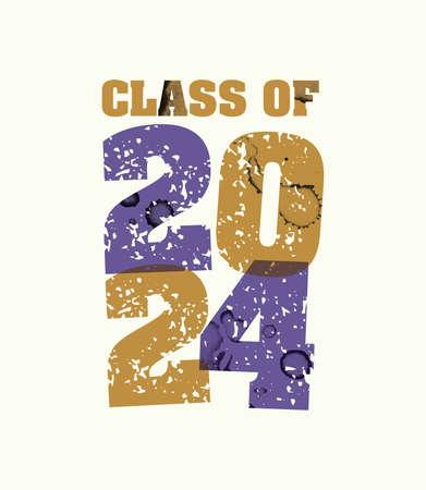 文字プレスハンドで印刷された2024年の概念の言葉クラスは、カラフルなグランジ塗料とインクを刻印しました。ベクトル EPS 10 が利用可能です。  イラスト・ベクター素材