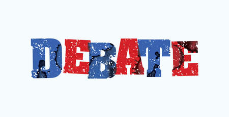 The word DEBATE concept printed in letterpress hand stamped colorful grunge paint and ink. Vector EPS 10 available.