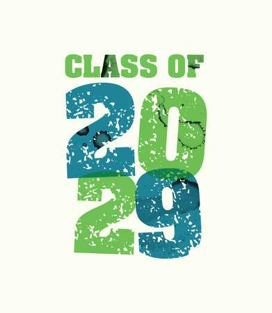文字プレスハンドで印刷された2029年の概念の言葉クラスは、カラフルなグランジ塗料とインクを刻印しました。ベクトル EPS 10 が利用可能です。