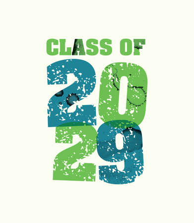 The words Class of 2029 concept printed in letterpress hand stamped colorful grunge paint and ink. Vector EPS 10 available.