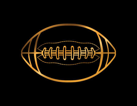 A golden American football icon on a black background illustration.