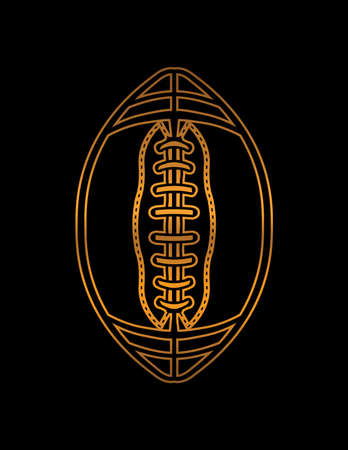 A gold color American football icon on a black background illustration.