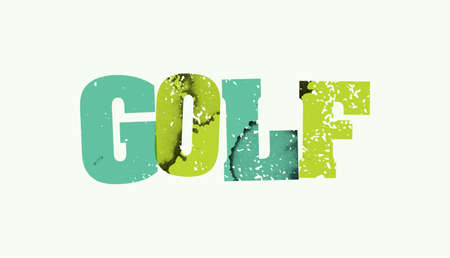The word GOLF stamped in colorful paint and ink on a plain background. Vector available. Illustration