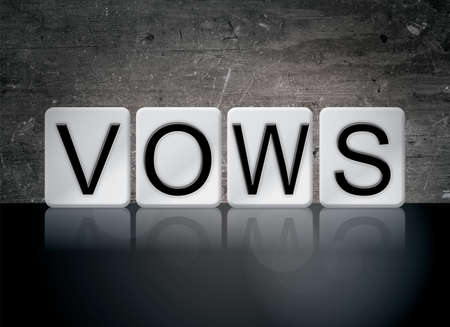 The word Vows concept and theme written in white tiles on a dark background.