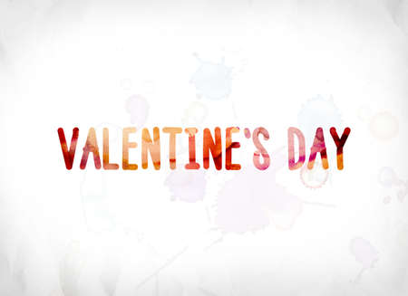 The words Valentines Day concept and theme painted in colorful watercolors on a white paper background.