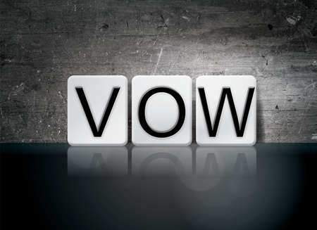 The word Vow concept and theme written in white tiles on a dark background.