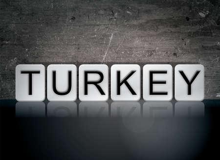 터키 개념 및 테마 어두운 배경에 흰색 타일로 작성 된 단어. 스톡 콘텐츠