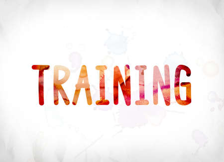 The word Training concept and theme painted in colorful watercolors on a white paper background. Imagens