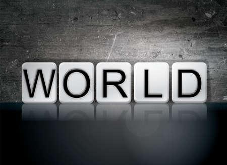 단어 세계 개념 및 어두운 배경에 흰색 타일에서 작성 된 테마.