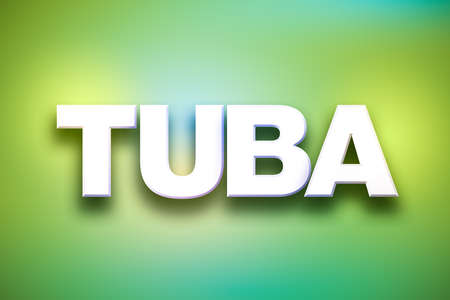 The word Tuba concept written in white type on a colorful background.