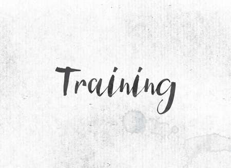 The word Training concept and theme painted in black ink on a watercolor wash background. Imagens