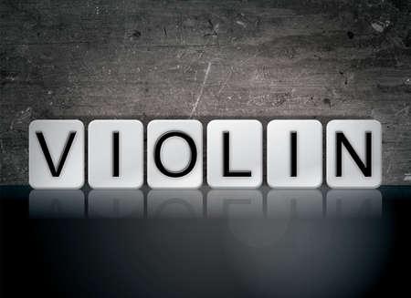 단어 바이올린 개념 및 어두운 배경에 흰색 타일에서 작성 된 테마.