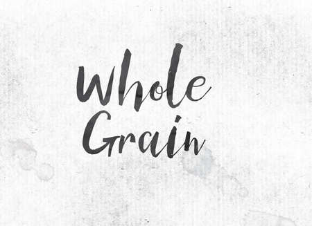 The words Whole Grain concept and theme painted in black ink on a watercolor wash background.