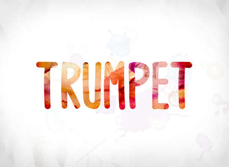The word Trumpet concept and theme painted in colorful watercolors on a white paper background. Stock Photo