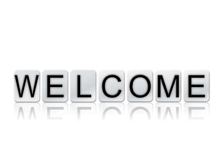 The word Welcome concept and theme written in white tiles and isolated on a white background. Banco de Imagens
