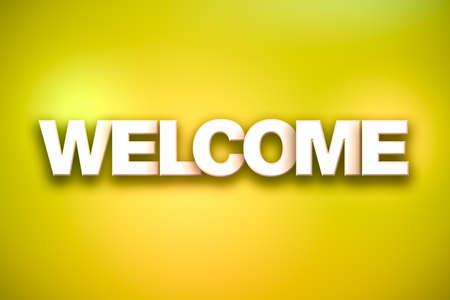 The word Welcome concept written in white type on a colorful background. Banco de Imagens