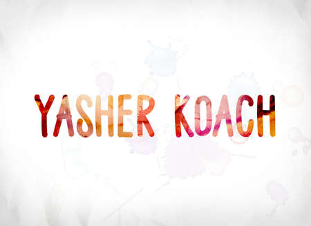 The words Yasher Koach concept and theme painted in colorful watercolors on a white paper background.