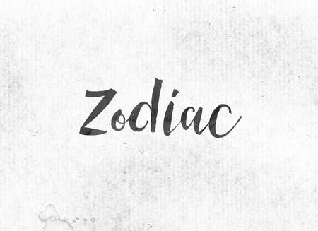 The word Zodiac concept and theme painted in black ink on a watercolor wash background.