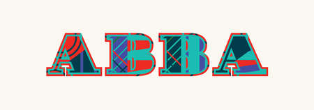 The word ABBA concept written in colorful abstract typography. Vector EPS 10 available.