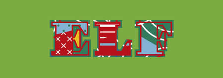 The word ELF concept written in colorful abstract typography. Vector EPS 10 available. Ilustração