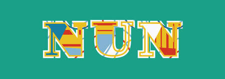 The word NUN concept written in colorful abstract typography. Vector EPS 10 available. Ilustração
