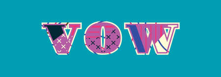The word VOW concept written in colorful abstract typography. Vector EPS 10 available. Illusztráció