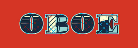 The word OBOE concept written in colorful abstract typography. Vector EPS 10 available. Illustration