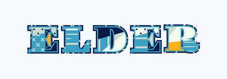 The word ELDER concept written in colorful abstract typography.