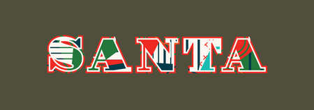 The word SANTA concept written in colorful abstract typography. Vector EPS 10 available.