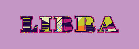 The word LIBRA concept written in colorful abstract typography. Vector EPS 10 available. Illusztráció