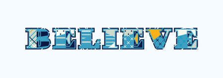 The word BELIEVE concept written in colorful abstract typography. Vector EPS 10 available. 向量圖像