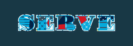 The word SERVE concept written in colorful abstract typography. Vector EPS 10 available.