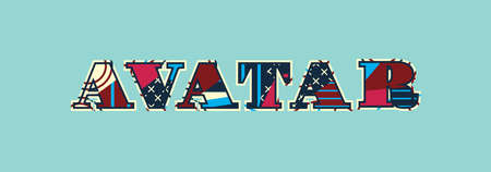 The word AVATAR concept written in colorful abstract typography. Vector EPS 10 available. Ilustração
