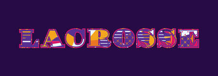The word LACROSSE concept written in colorful abstract typography. Vector EPS 10 available.