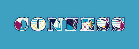 The word CONFESS concept written in colorful abstract typography. Vector EPS 10 available. 向量圖像