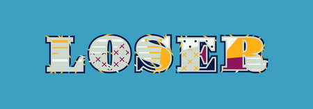 The word LOSER concept written in colorful abstract typography. Vector EPS 10 available.