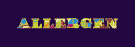The word ALLERGEN concept written in colorful abstract typography. Vector EPS 10 available.
